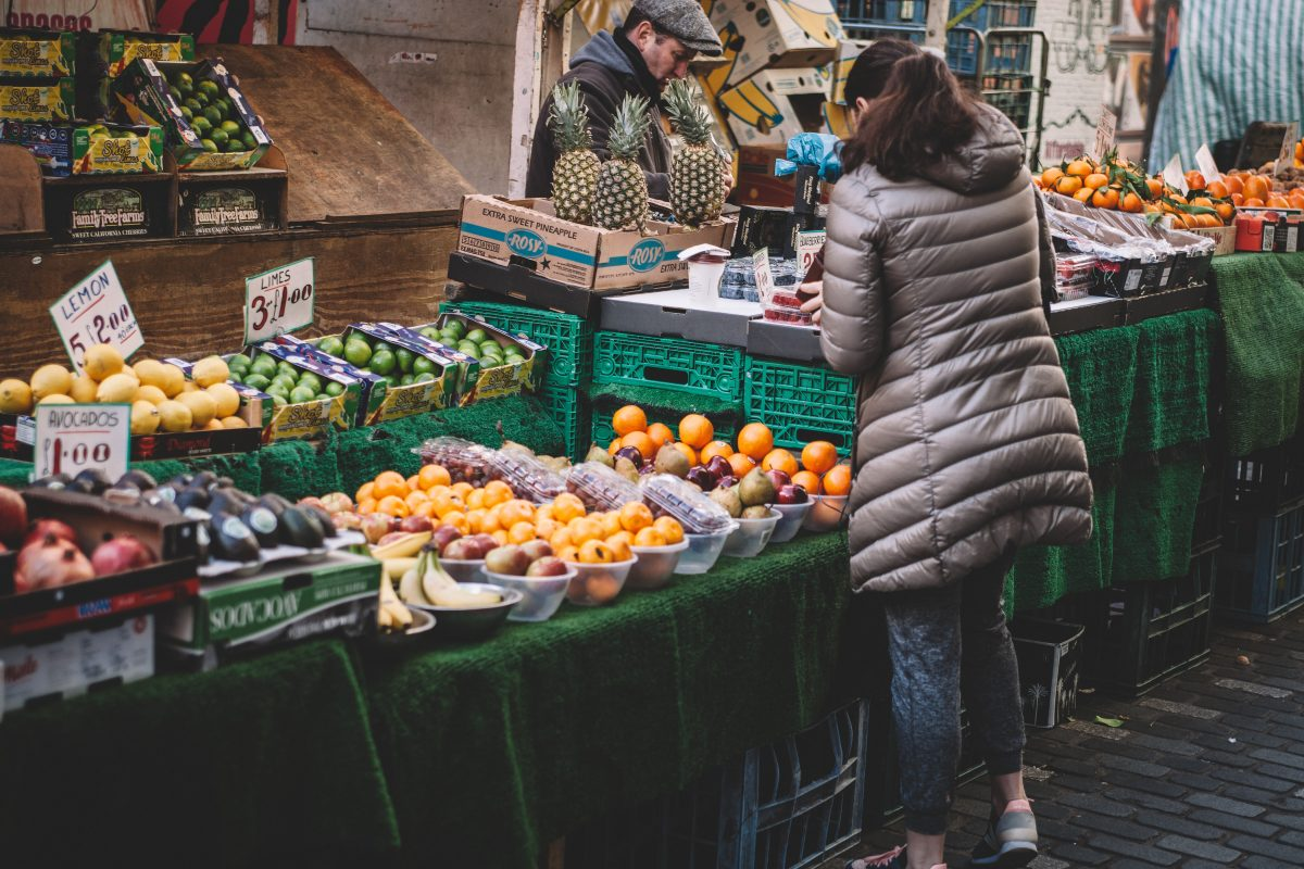 lady at fresh produce stand