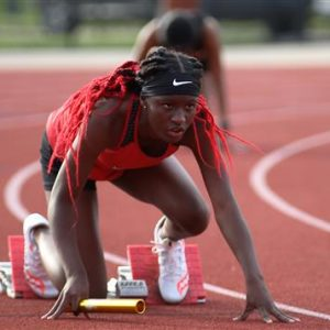 Clinton High School Girls Track and Field Runner At the Starting Block
