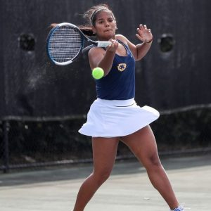 Mississippi College Tennis Player Hits a Tennis Ball