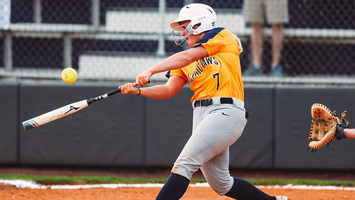 Mississippi College Softball Player McCall Lee Gets a Hit