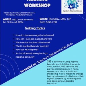 Parent and caregiver training workshop clinton mississippi