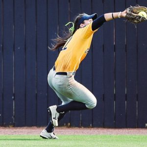 Rayne Minor of Mississippi College's softball team makes catch