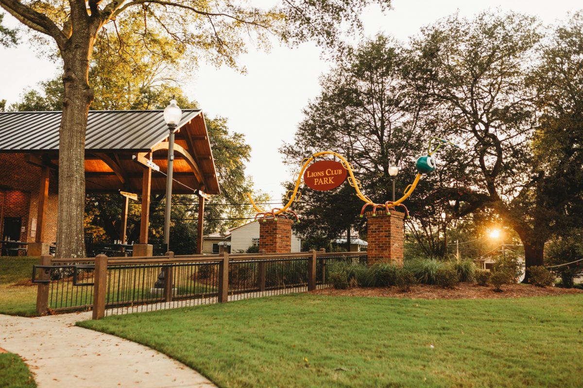 New lions club park in clinton at sunset