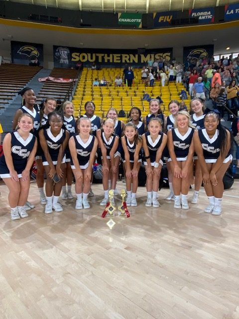 The CCA junior varsity cheer squad includes (l to r), front row: Maddie Fox, Ashlyn Barnes, Sawyer Turnage, Hayden Cannada, Izzy McGeehee, River Russell, Polly Pope and Karmen Manuel; and back row: Jamaya Loftin, Kenzie Prevost, Laney Gibson, Kenlee Mitchell, Maddie Beckman, Kaylyn Watson, Shelby Brinkmann, Rivers McMullen and Ella Craft.